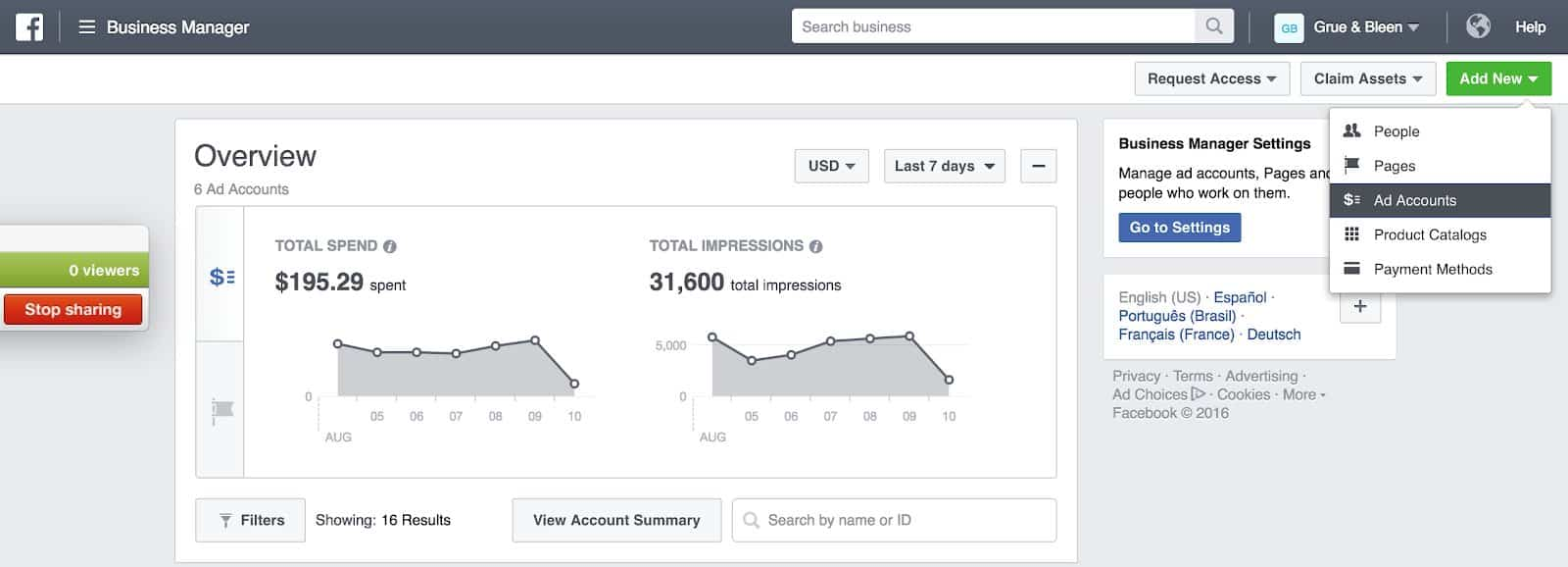 Facebook Business Manager - Add a New Ad Account