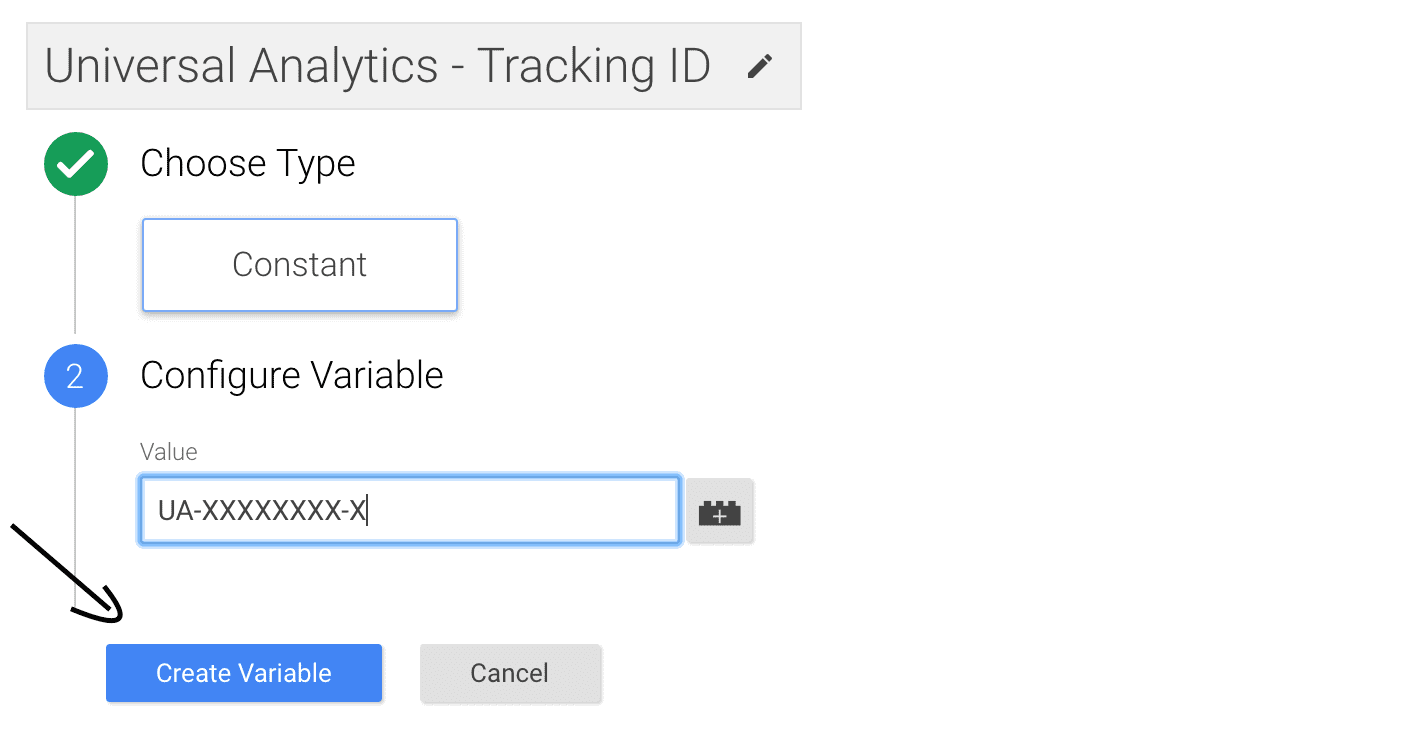 Configure Variale Tracking ID