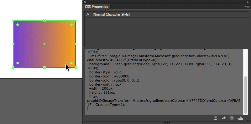 CSS Properties in Adobe Illustrator