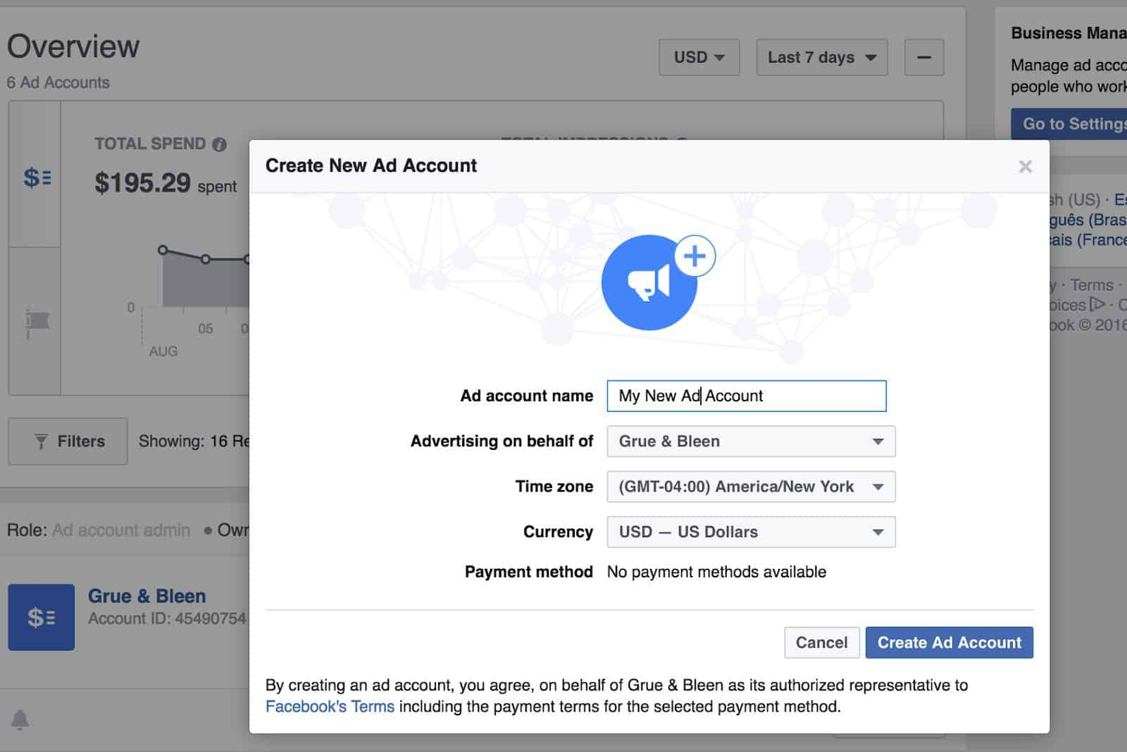Facebook Business Manager - Add Account Name