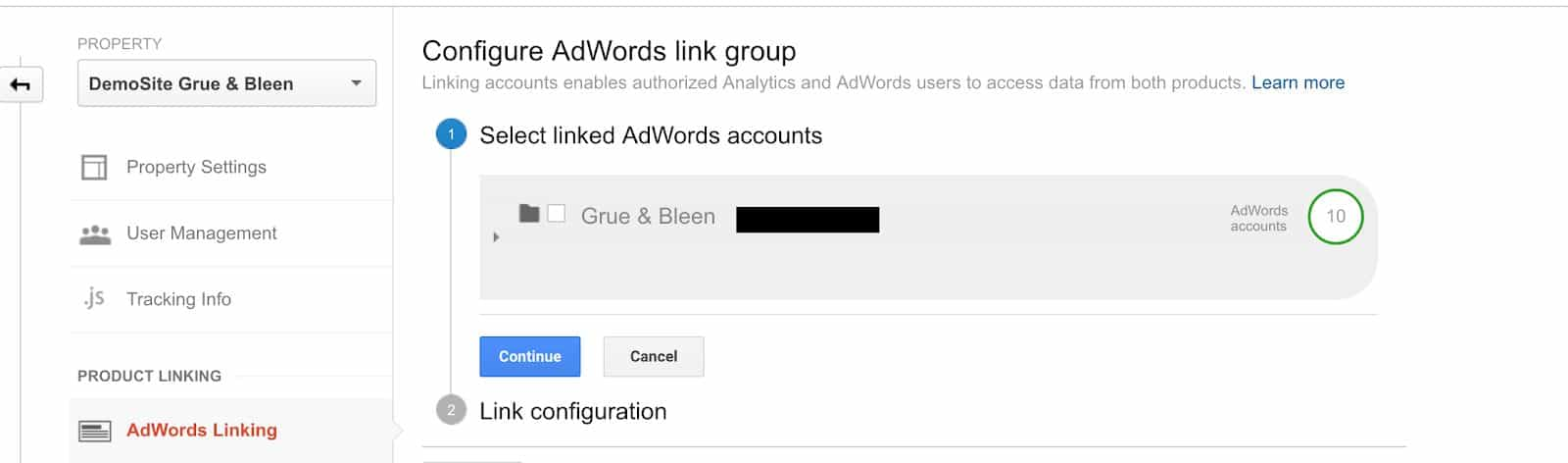 Google Adwords Link in Google Analytics
