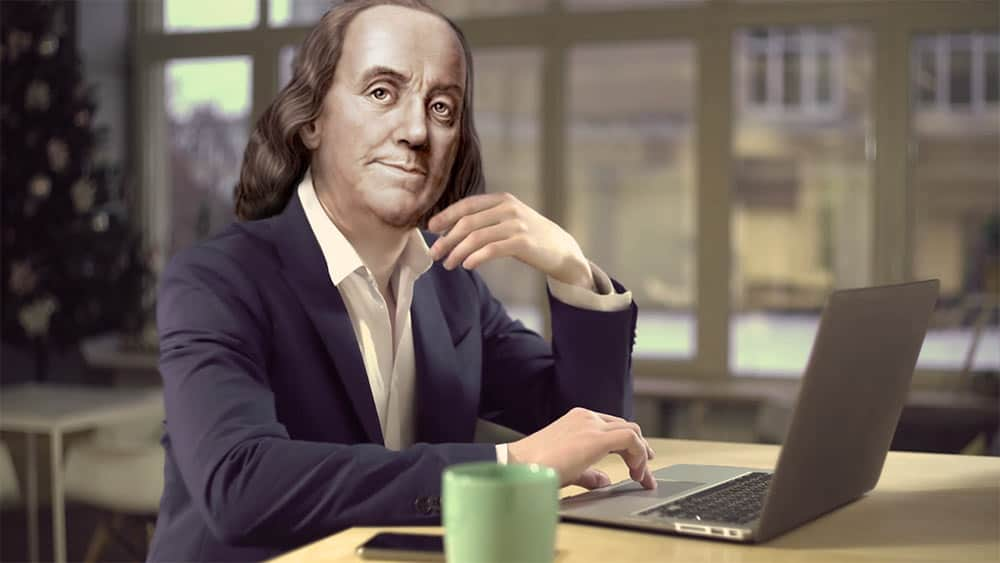 Ben Franklin by a Computer