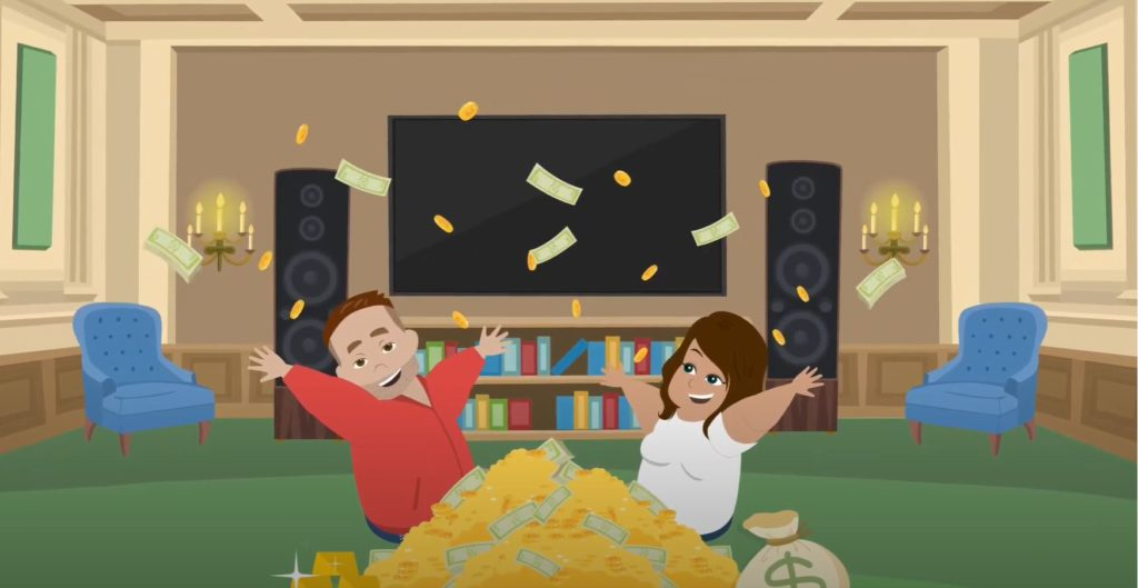 animation of two people throwing money into the air