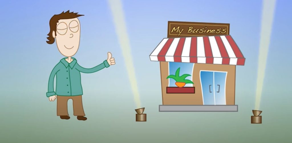 animation of a lit up business